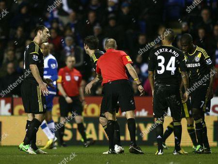 Chelsea's Branislav Ivanovic (far Left) Argues with Referee Mark Halsey United Kingdom Reading