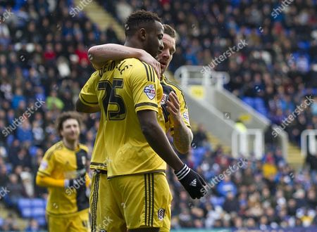 Moussa Dembele of Fulham Scores and Celebrates with Jamie O'hara 0-1 During the Sky Bet Championship Match Between Reading and Fulham Played at Madejski Stadium Reading On March 5th 2016 United Kingdom Reading