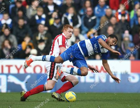 Reading's Adrian Mariappa is Fouled by Sheffield United's Dave Kitson United Kingdom Reading