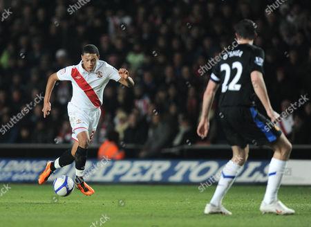 Alex Chamberlain of Southampton Runs at the Manchester United Defence United Kingdom Southampton