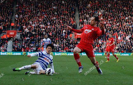 Park Ji-sung of Queens Park Rangers Beats Maya Yoshida of Southampton to the Ball Prior to Setting Up Jay Bothroyd For the Winning Goal United Kingdom Southampton