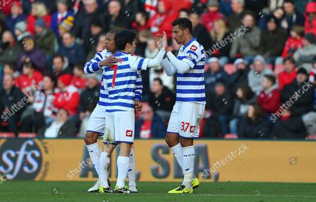 Jay Bothroyd of Queens Park Rangers Celebrates Scoring His Goal to Make the Score 1-2 with Loic Remy and Park Ji-sung of Queens Park Rangers United Kingdom Southampton