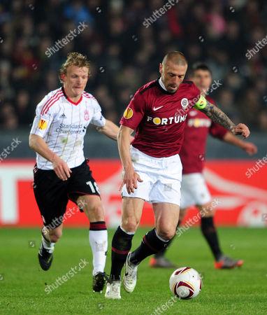 Dirk Kuyt of Liverpool and Tomas Repka of Sparta Praha Czech Republic Prague