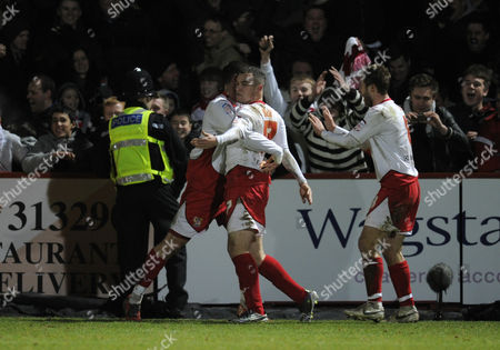 Stock Picture of Peter Winn of Stevenage Celebrate His Goal with Team-mates After Scoring to Make It 3-0 United Kingdom Stevenage