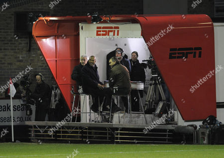 Ex Newcastle United Manager Kevin Keegan John Barnes and Ray Stubbs Watch the Two Teams Warm-up From the Mobile Espn Presentation Trailer United Kingdom Stevenage