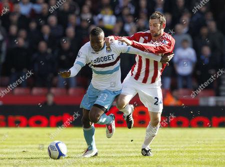 Victor Obinna of West Ham United and Rory Delap of Stoke City United Kingdom Stoke