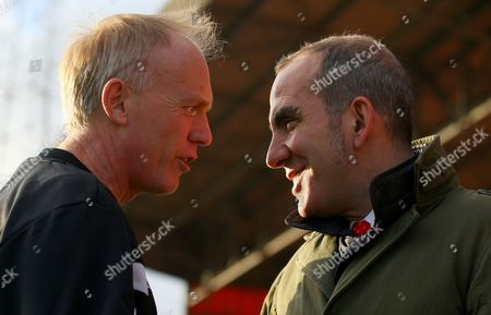 Stock Picture of Swindon Town Manager Paolo Di Canio Shares A Joke with Referee Peter Walton Before Kick Off United Kingdom Swindon