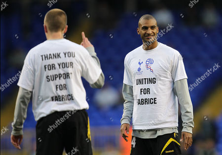 David N'gog and Martin Petrov of Bolton Wanderers Wear T Shirts Thanking the Fans For the Support of Fabrice Muamba United Kingdom London