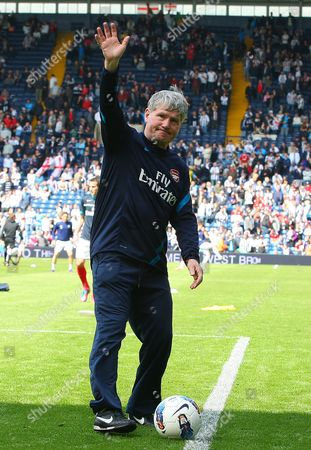 Arsenal Assistant Manager Pat Rice Waves to the Fans in His Last Match Before Retiring United Kingdom Birmingham