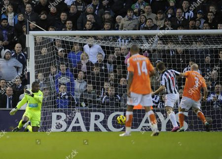 James Morrison of West Bromwich Albion is On Hand to Score From the Mishandle by Blackpool Goalkeeper Richard Kingson 2-1 United Kingdom Birmingham