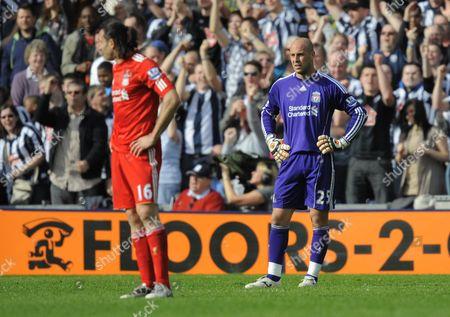 A Dejected Sotirios Kyrgiakos and Liverpool Goalkeeper Pepe Reina United Kingdom Birmingham