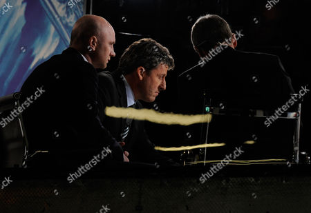 Cancer Survivor John Hartson (left) Sits Next to Andy Townsend (centre) in the Itv Commentary Box at Upton Park United Kingdom London