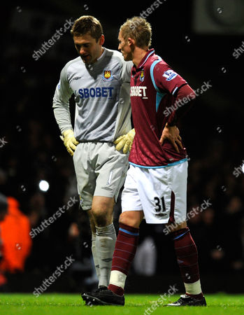 Jack Collison Offer Some Advice to West Ham United Goalkeeper Robert Green Before Facing A Penalty Kick From Frank Lampard of Chelsea United Kingdom London