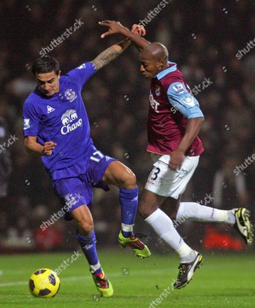 Tim Cahill of Everton and Luis Boa Morte of West Ham United in Action United Kingdom London