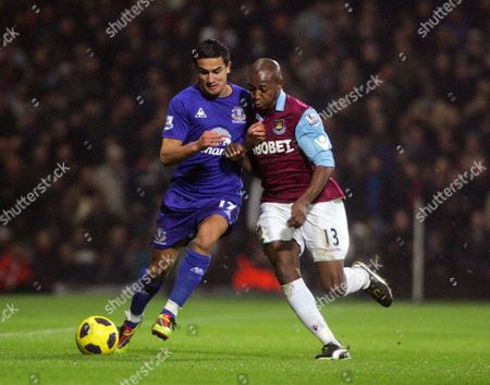 Tim Cahill of Everton Shields the Ball From Luis Boa Morte of West Ham United United Kingdom London