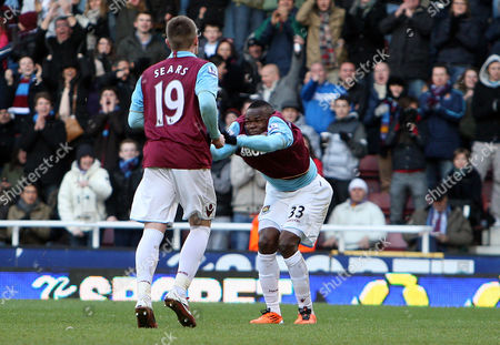 Victor Obinna of West Ham United Celebrates Scoring A Goal From the Penalty Spot to Make the Score 3-2 United Kingdom London