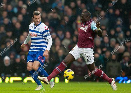 Mohamed Diame of West Ham United and Ryan Nelsen of Qpr United Kingdom London