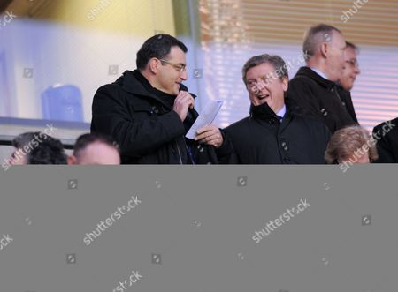 Roy Hodgson of Liverpool and Damien Comolli Watch the Match Between Wigan and Newcastle United United Kingdom Wigan