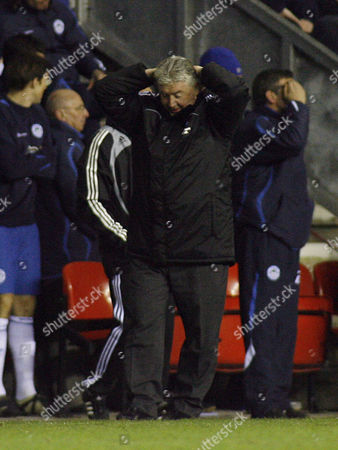Newcastle United Manager Joe Kinnear Holds His Head in His Hands After Damien Duff Misses A Late Chance to Equalise United Kingdom Wigan