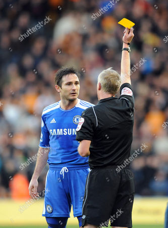 Frank Lampard of Chelsea is Booked by Referee Peter Walton After He Fouls Adam Hammill of Wolverhampton Wanderers United Kingdom Wolverhampton
