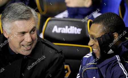 Manager Carlo Ancelotti of Chelsea with Assistant Michael Emenalo United Kingdom Wolverhampton