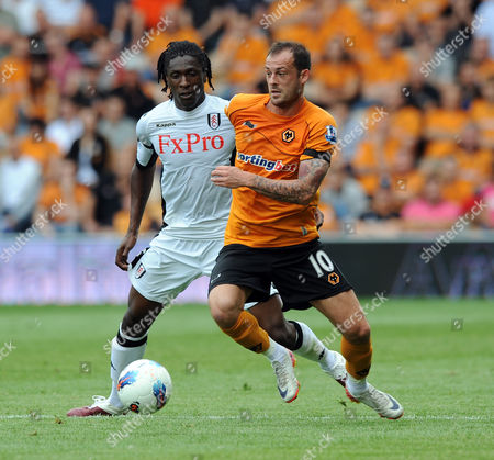 Dickson Etuhu of Fulham and of Stephen Fletcher of Wolverhampton Wanderers United Kingdom Wolverhampton