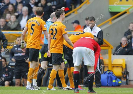 Ronald Zubar of Wolverhampton Wanderers is Shown A Red Card For A Second Bookable Offence United Kingdom Wolverhampton