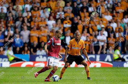 Calum Davenport of West Ham United and Karl Henry of Wolverhampton Wanderers United Kingdom Wolverhampton