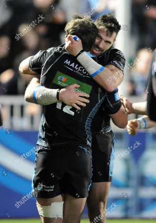 Sean Lamont - Glasgow Warriors winger celebrates his second half try with Peter Horne.