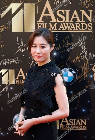 South Korea actress So-ri Moon poses on the red carpet of the Asian Film Awards in Hong Kong