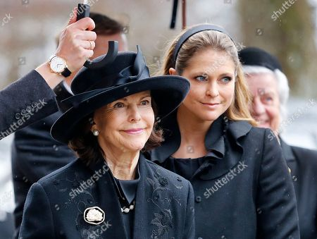 Stock Picture of Queen Silvia of Sweden, left, and Princess Madelaine arrive at the protestant church for a funeral service for the late husband of Danish Princess Benedikte, Prince Richard of Sayn-Wittgenstein-Berleburg, in Bad Berleburg, Germany
