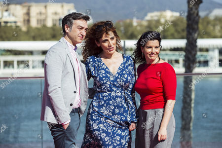 Film director Roser Aguilar (C), Spanishactor and cast-member Sergio Caballero and actress and cast-member Laia Marull pose for photographers after the presentation of the film 'Brava' at 20th Malaga Film Festival, southern Spain, 21 March 2017.