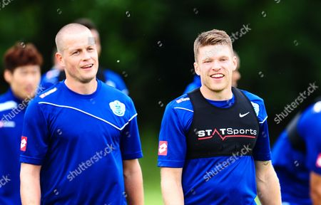 A Smiling Jamie Mackie of Qpr Alongside Heidar Helguson During Training United Kingdom London