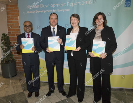 Selim Jahan, Director of the Human Development Report Office, Swedish Prime Minister Stefan Lofven, Head of the UN Development Programme Helen Clark and Isabella Lovin, Deputy Prime Minister of Sweden, attend the launch of UN stabilization fund?s Human Development Report 2016 at Norra Latin in Stockholm, Sweden, March 21, 2016.