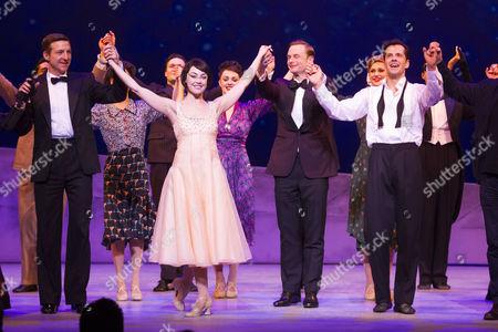 Haydn Oakley (Henri Baurel), Leanne Cope (Lise Dassin), Christopher Wheeldon (Director) and Robert Fairchild (Jerry Mulligan) during the curtain call