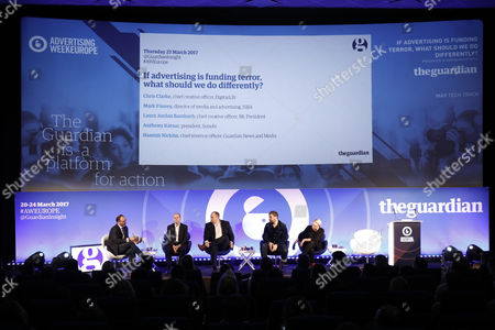 Editorial photo of If Advertising is Funding Terror, What Should We Do Differently? seminar, Advertising Week Europe 2017, The Guardian Stage, Picturehouse Central, London, UK - 23 Mar 2017