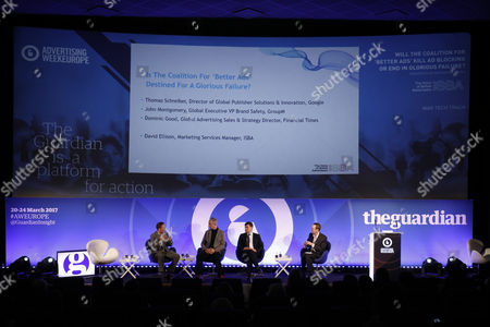 Thomas Schreiber (Director Publishing Solutions and Innovations EMEA, Google), John Montgomery (Global Executive Vice President of Brand Safety, GroupM), Dominic Good (Global Commercial Director, Financial Times) and David Ellison (Marketing Services Manager, ISBA)