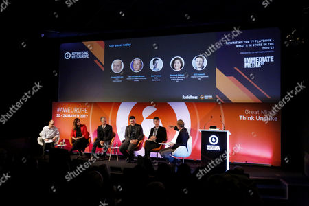 Editorial photo of Rewriting the TV Playbook - what's in store in the 2020's? workshop, Advertising Week Europe 2017, Workshop Stage, Picturehouse Central, London, UK- 23 Mar 2017