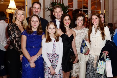 Anthony Andrews with his wife Georgina Simpson, their son, Producer Josh Andrews with his wife and children
