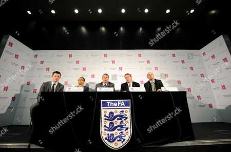 Team Gb Football Head Coach (men's) Stuart Pearce (women's) Hope Powell Director De Mission Boa - Andy Hunt and Director of Sports Boa - Sir Clive Woodward Answer Questions During A Press Conference Following the Olympic Football Tournament Draw