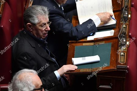 Italian Northern League's former leader Umberto Bossi attends a joint session of deputies, senators and European MPs at the Italian Lower House as part of the 60th anniversary of the signing of the Treaty of Rome celebrations, in Rome, Italy, 22 March 2017. The Treaty of Rome was signed on 25 March 1957 at Campidoglio Palace in Rome by Belgium, France, Italy, Luxembourg, the Netherlands and West Germany to form the European Economic Community (ECC).