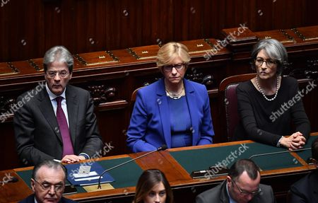 Stock Image of (L-R) Italian Premier Paolo Gentiloni, Italian Defence Minister Roberta Pinotti and Italian Minister for Relations with Parliament Anna Finocchiaro attend a joint session of deputies, senators and European MPs at the Italian Lower House as part of the 60th anniversary of the signing of the Treaty of Rome celebrations, in Rome, Italy, 22 March 2017. The Treaty of Rome was signed on 25 March 1957 at Campidoglio Palace in Rome by Belgium, France, Italy, Luxembourg, the Netherlands and West Germany to form the European Economic Community (ECC).
