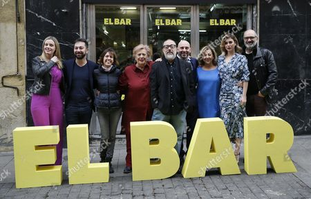 Stock Picture of Spanish fim director Alex de la Iglesia (5R) poses with cast actors Carolina Bang (L), Terele Pavez (4L), Jaime Ordonez (4R), Carmen Machi (3R), Blanca Suarez (2R) and Joaquin Clement (R), others not identified, during the presentation of the new comedy 'El Bar' (The Bar) in Madrid, Spain, 22 March 2017.