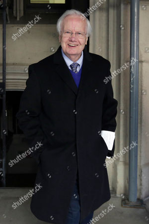 Journalist Bill Moyers leaves the funeral for journalist Jimmy Breslin at the Church of the Blessed Sacrament in New York, . Breslin died Sunday, at age 88 after decades of battling corrupt politicians and championing the downtrodden in columns for the Daily News and other New York newspapers