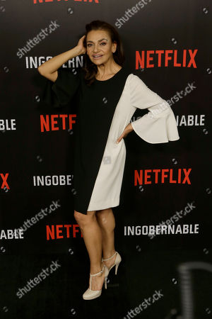 """Stock Picture of Mexican actress Aida Lopez poses for photos during a media call to promote the Netflix series """"Ingobernable"""" in Mexico City"""