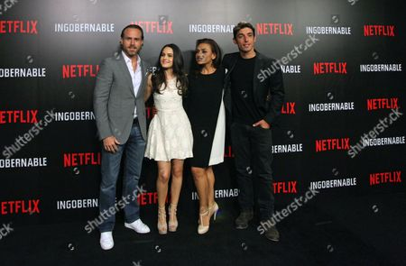 (L-R) Mexican actors Erik Hayser, Alicia Jaziz, Aida Lopez and Cuban actor Alberto Guerra pose during the press conference of the series 'Ungovernable' in Mexico City, Mexico, 22 March 2017. The political drama series has 20 episodes.