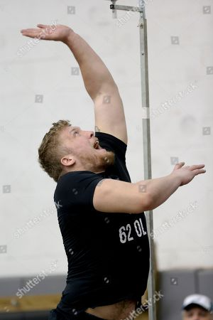 Offensive lineman John Guy (62) participates in Pittsburgh's NFL football pro-timing day, in Pittsburgh