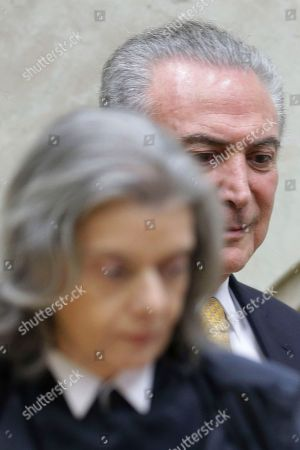 Carmen Lucia, Michel Temer Brazil's Chief Justice Carmen Lucia and President Michel Temer, arrive to attend a swearing-in ceremony for the newly-confirmed Justice Minister Alexandre de Moraes, in Brasilia, Brazil