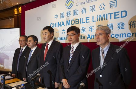 China Mobile Limited executives Dong Xin (2L), Executive Director, Vice President and CFO, Liu Aili (L), Executive Director and Vice President, Shang Bing (M), Executive Director and Chairman, Li Yue (R), Executive Director and CEO and Sha Yuejia (2R), Executive Director and Vice President, prepare to hold a press conference to deliver the company's annual financial results for 2016, Hong Kong, China, 23 March 2017. According to the company, China Mobile's operating revenue reached RMB 708.4 billion in 2016, representing an increase of 6.0 per cent from the previous year. Wireless data traffic revenue increased by 43.5 per cent from the previous year, accounting for 46.2 per cent of revenue from telecommunications services. Wireless data traffic became the single biggest revenue source for the company in 2016, surpassing the combined revenue of voice, SMS and MMS.