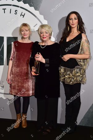 Alison Steadman with the 'Richard Harris' award presented by Ella Harris and Claire Skinner at The British Independent Film Awards (BIFA) at Old Billingsgate, London on the 4th December 2016.